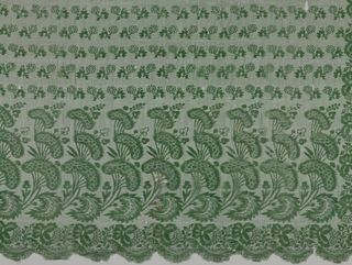 Bonnet veil with a pattern of conventionalized flowers in green silk arranged to form a border on three sides enclosing horizontal stripes.
