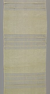 Casement textile with two bands of alternating openwork.