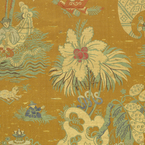 Early twentieth century interpretation of an eighteenth-century Spitalfields, chinoiserie-style fabric with figures in boats and others resting in grasses. Other motifs incude rocks, fantastic flowering plants, small tables set with various dishes and vessels, and a bullfrog catching a passing fly. Ground is golden yellow with blues, greens, off-white, rust red and dark pink.