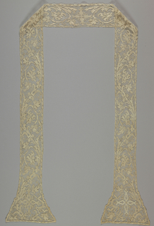 Ecclesiastical stole with design of conventional leaves and floral vines.