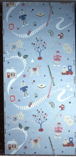 Children's paper with gumdrop trees, horses, dolls, trains and small toys with a polka-dot ribbon running across the paper. Colors in pinks, green, blue, black and white with metallic silver on a light blue ground.