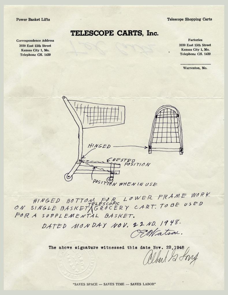 Telescope Shopping Cart Drawing On Letterhead (USA), November 1948