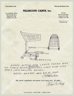 Telescope Shopping Cart Drawing On Letterhead (USA), November 1948