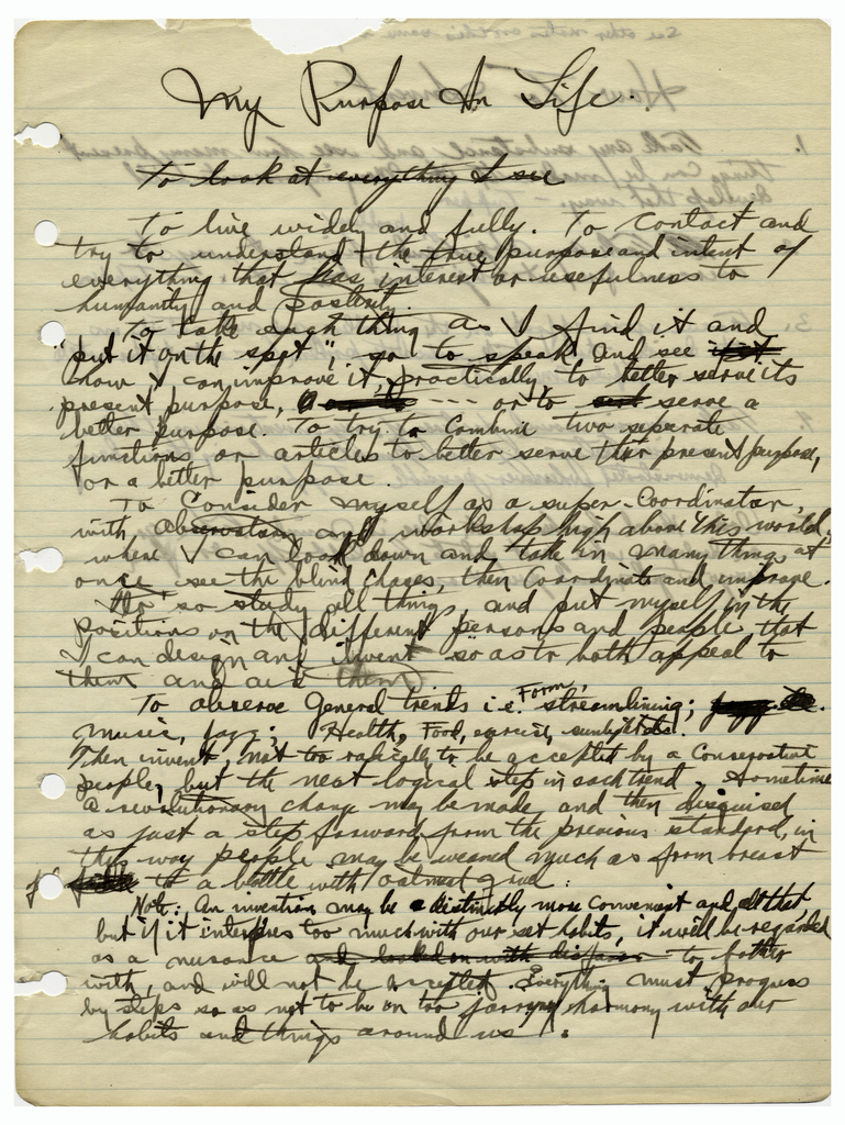 """Tupper Notebook """"My Purpose In Life"""" (USA), ca. 1935"""