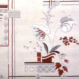 Red and grey geometric lines forming large rectangle in the background. Red flowers with grey and metallic silver leaves in vases placed in each large rectangle on an ivory ground.