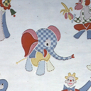 Children's paper of patchwork stuffed animals in colors of red, pink, green, blue and yellow. Animals include a seal, elephant, monkeys, giraffes and a clown on a white ground.