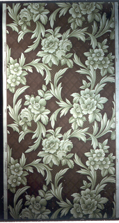 Roses and anemonies in shades of green on a brown background of an imitation plaid twill weave; printed on an ivory ground.