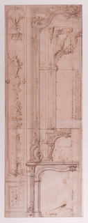 The left half of a fireplace wall, showing the mirror frame, terminates in a volute. Within the mirror area, a reduced, similar scheme is depicted. A vertical carved panel with a figure of Fame and a fountain below is at left. Both chimneywalls are decorated with carved ornaments and foliage. This is probably an alternate design for those published in Livre de Differentes Decorations d'Apartements, Suite SS.