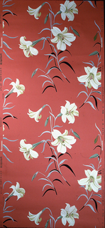 Repeating pattern of white lilies with green, black, and grey leaves on a coral ground.
