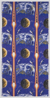 Parallel stripes of rising Saturn 5 rockets in red and orange, with the moon and two images of the Apollo 9 capsule falling to the earth's surface, on a background of deep blue dotted with stars.