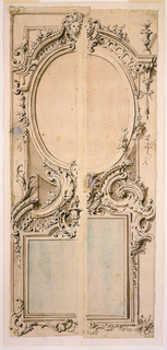 The edge of the design of right half (2) is pasted over that of a left half (1).  Either design includes an upper oval and a lower oblong mirror.  (1) suggests horizontal, (2) vertical, lower mirrors.  Either design suggests a female mask in the top center of the upper mirror, (A) a second one in the bottom center of the upper mirror and a vase over the center of the bottom mirror.