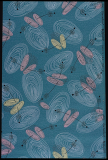 Small pink and yellow and large white swirls connected by black lines on a turquoise ground.