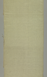 Beige/tan fabric with woven narrow blue stripe.