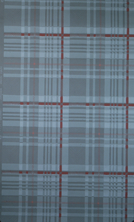 Plaid of pale grey and a thin red stripe on a grey ground.