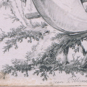 Under fanciful trees, a Chinese man and woman are seated on a section of rustic fence, over which hangs a cloth intended for the title.