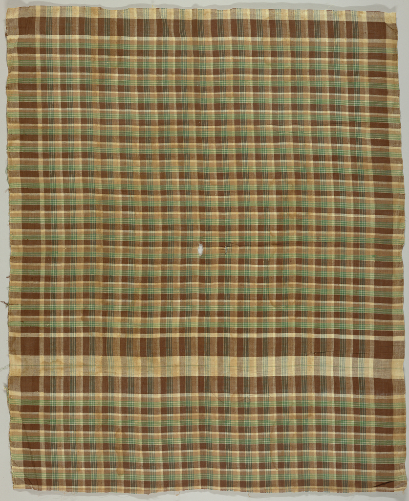 Gingham in shades of brown, green and white.