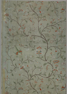Light blue-green silk with polychrome tempera painted design. Brown serpentine branches with green foliage and flowers in white, orange and pink. Green, orange and violet birds.