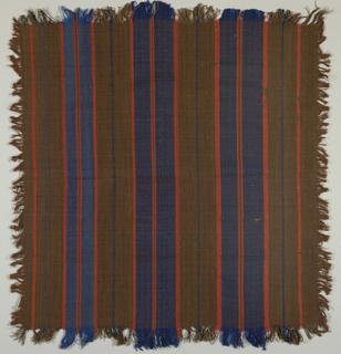 Handkerchief with brown cotton warp with weft stripes of brown cotton and blue and red wool. Fringe on all four sides