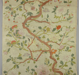 Design of serpentine tree trunk throwing off flowering branches with birds. Panel is composed of several pieces, pasted together and mounted. White ground.