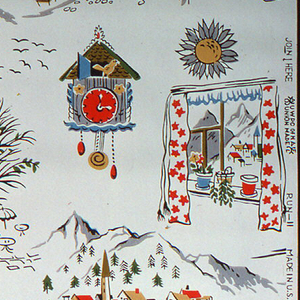 Swiss views of mountains seen through a red and white curtain, a cuckoo clock, and cobbled street scene. Printed in red, yellow, turquoise, and brown on a cream ground.
