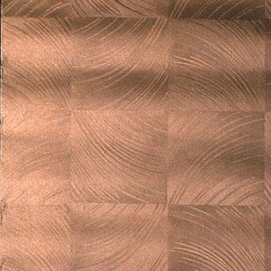 Copper squares of diagonal curving lines.