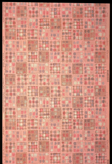 Patchwork-like design of squares, enclosing dots and stripes; printed in pink, blues and white on light pink ground.