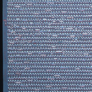 Pink, red, white, blue, and metallic gold horizontal line forming a tweed pattern on a grey ground.