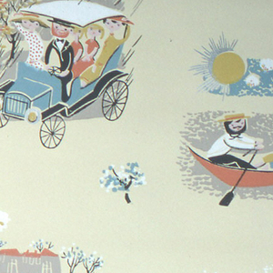 Four nostalgiac views depicting the four seasons. Woman with parasol pushing stroller, walking with bearded man; man and woman driving vintage car in the rain; man rowing small boat with two female passengers; horse-drawn sleigh being pulled through the snow. Printed in yellow, black, white, and turquoise on a pale yellow ground.