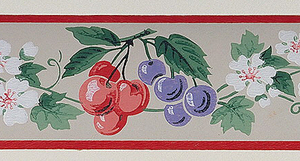 Raspberries, cherries and grapes in red and purple, alternating with white blossoms and foliage. Narrow red bands along either edge. Printed on off-white ground.