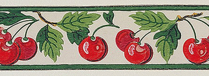 Wide central band of red cherries with green leaves. Narrow green bands along either edge. Printed on off-white ground.