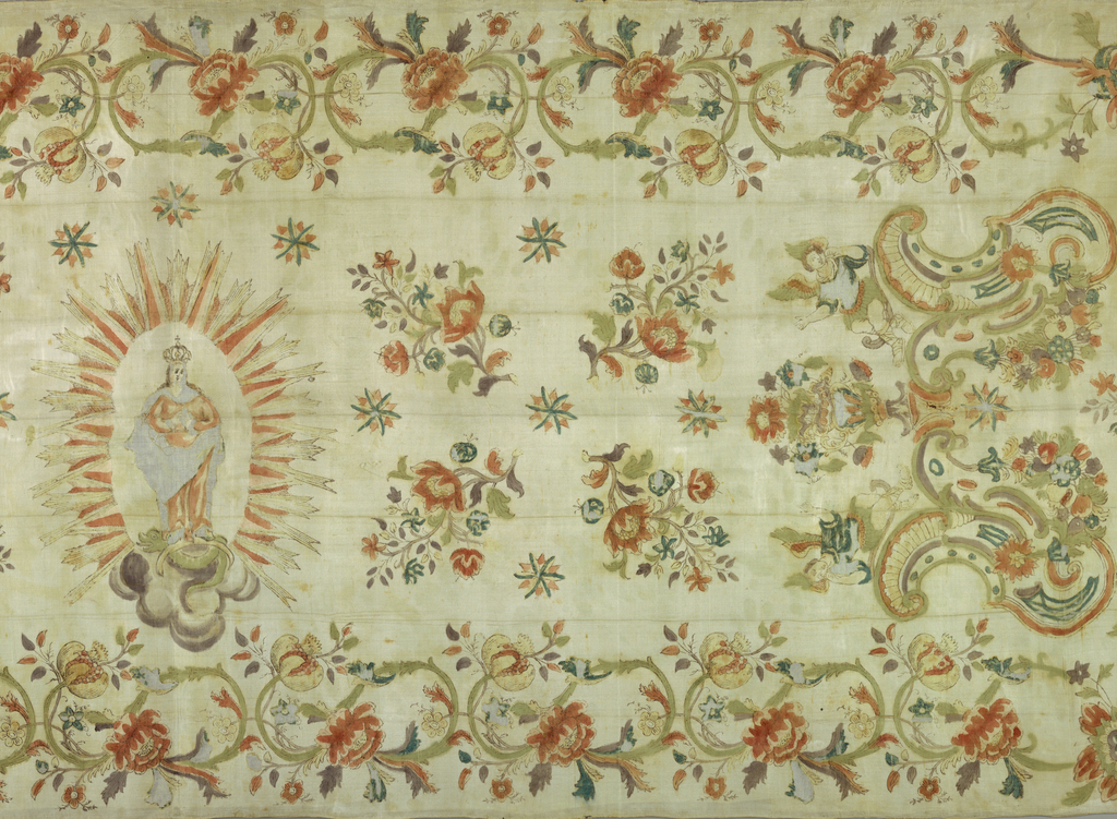 The Madonna surrounded by stars, sprays of flowers, and angels within a scrolling floral border. The silk is fringed at the sides.