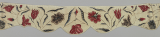 Indian chintz. Twelve fragmentary pieces sewn together to form three complete and part of one window valance. Design of flowers - in Indian style - in blue and red outlined in black on white ground.