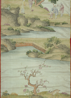 Pale blue ground with vertical series of landscapes painted in polychrome tempera. At bottom, spotted deer beneath blossoming apple tree. Next two pieces have been joined together leaving an incomplete design of breakwater with another group immediately above it. The next group shows two men talking in a field, one man holding a hoe. Man, woman and child walk toward first two. A natural rocky bridge runs to next group: a water carrier, farmer and ox on a bridge. Above bridge, a house compound beside a great rock with several figures in front of the house. At top, an incomplete group with houses under a great cliff near water. A water carrier and a man with a hoe walk toward houses. Left edge and bottom have blue and white trim