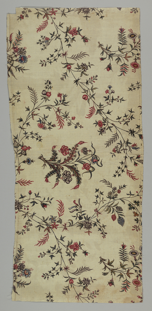 Flowering vines and floral clusters. Indian adaption of a European woven fabric.