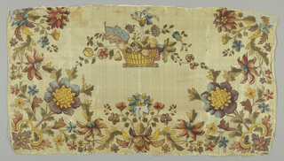 Polychrome floral border on three sides and a basket of flowers in the center.