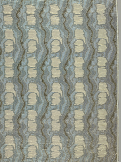 Stripes formed of blotches and curving lines. Blue, cream and gold.