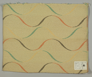 Furnishing fabric showing S-curves making waves on a beige background.