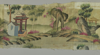Oblong panel of taffeta painted in polychrome. A landscape with trees, pavilion and rocks.