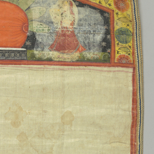 Panel with pointed top. Natural colored ground. Lower half has two broad bands, each band having two cows with all-over design of red hand prints, on each side of central lunette enclosing figure of a man. These bands are separated by a band of lotus blossoms on water and a floral ornamental band, both of which are repeated for border at bottom. At top a pillow (?) with a peacock over it and flanked on each side by a woman carrying a bowl. Floral border repeated at top.