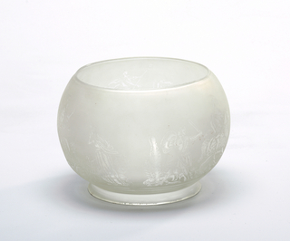 Frosted glass globe etched with figural decoration.  Shade for light fixture.