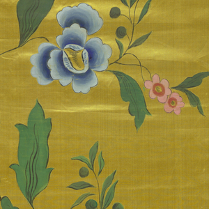 Gold painted satin in birght colors in large floral design of flowers and birds in imitation of Chinese painted  textiles. Coarsely painted.