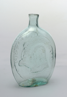 "Bottle green glass.  On one face, bust of Washington, with gueue, facing left. Inscription ""THE FATHER OF HIS COUNTRY"". Reverse, bust of Taylor, in uniform, facing left. Inscription: ""GEN. TAYLOR NEVER SURRENDERS"" ""DYOTTVILLE GLASSWORKS PHILAD.A."" with sheared mouth.