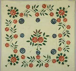 Square of unbleached muslin with bold floral border and central sprigs stenciled in red, blue, green opaque paints.