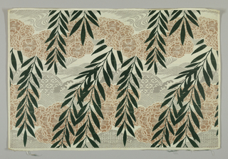 White silk ground figured with swags of five-petal flowers in pale pink silk; drooping branches with lance-like leaves in green silk, wave and spray motifs water, and geometric design in paper-silver.