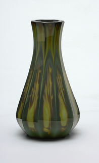 Agate glass vase.  Olive and ochre with faceted sides.
