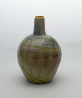 Agate  vase with tall neck and bulbous shaped; Mustards, light greens,  and mauves