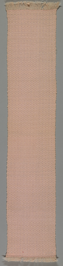 Pale pink scarf, loosely woven, with warp fringe on each end.