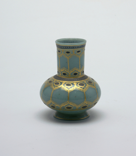 Translucent glass vase, pale, slightly greenish blue. On out-flaring rim of foot, bulbous body, narrowing to long wide neck with slightly out- flaring lip. Decorated with bandings, linear patterns, dots, in gold and lavender-gray.