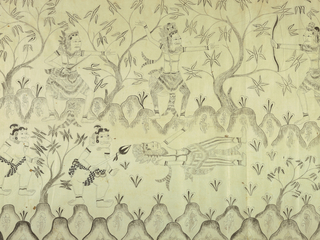 Hanging depicts a battle between forces of good and evil in landscape. Figures armed with spears or bows are pictured among trees and mounds of land with foliage. Black and greys on white cotton.
