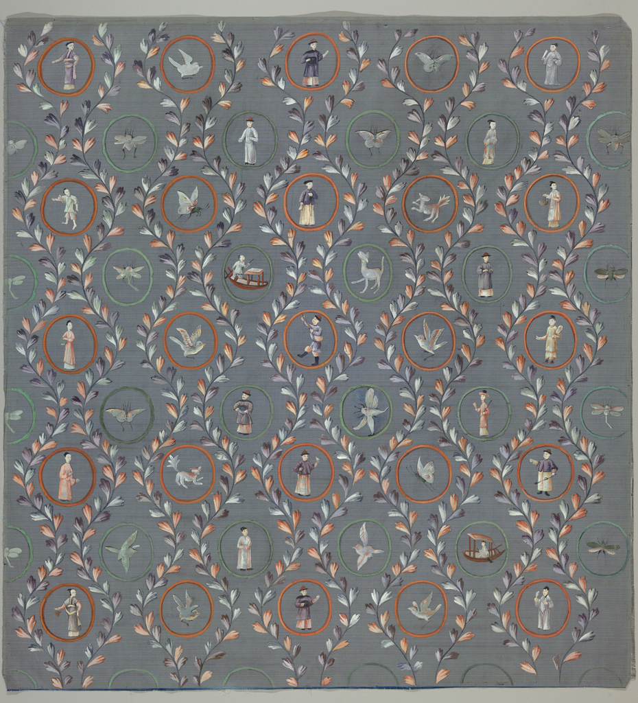 Blue silk ground; symmetrical repeat pattern of circles and leaves in vermillion, green purple and pink. Each circle contains a different painting of a single figure, boat, animal, bird or insect.